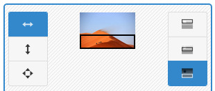 Screenshot of Image Slider Maker generator tool interface - showing image position set as fit to width, align bottom