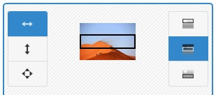 Screenshot of Image Slider Maker generator tool interface - showing image position set as fit to width, align middle