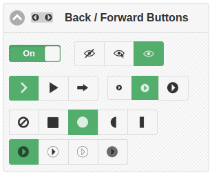 Forward and back button controls showing settings for visibility, icon type, size, shape and color