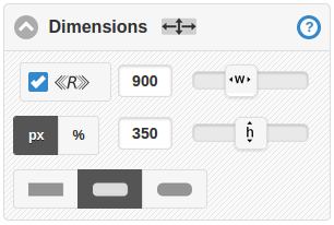Dimensions controls showing settings for responsiveness, width, height and corner roundness