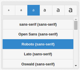 Caption font controls with settings for size and font family via a select list