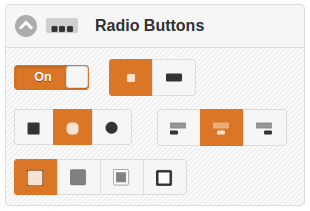 Radio button controls showing settings for type, shape, alignment and color