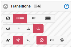Transitions controls showing settings for transition type, autoplay mode, autoplay speed and image effect